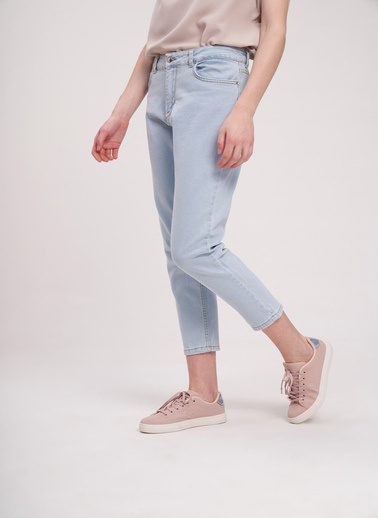 Mizalle Youth Mızalle Youth Dikişli Mom Denim Pantolon  Mavi